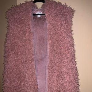 Dusty Pink Hooded Faux Fur Vest